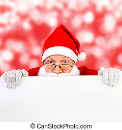 Santa Claus with Blank Board on the Winter Background