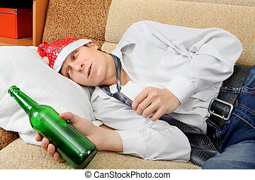 Drunken Teenager in Santa Hat - Drunken Teenager with Bottle...