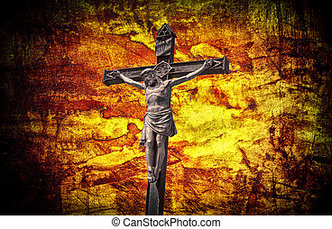 the Crucifixion Jesus on the cross grunge effect
