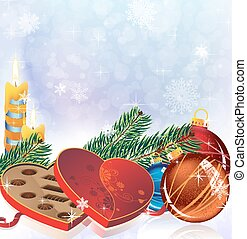 Romantic Christmas sparkling background - Burning candles,...
