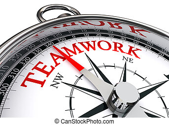 teamwork conceptual compass isolated on white background