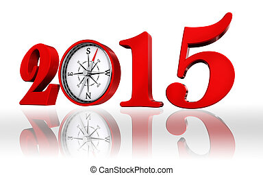new year 2015 number with compass
