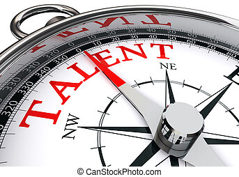talent indicated by concept compass isolated on white...