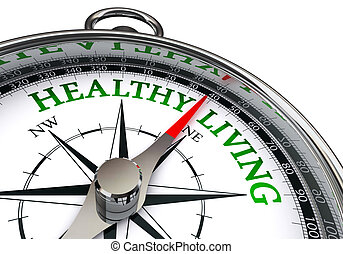 healthy living on concept compass, isolated on white...