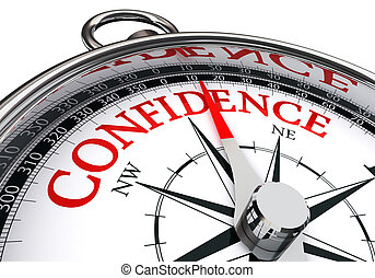 confidence conceptual compass isolated on white background