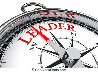 leader red word on concept compass isolated on white...