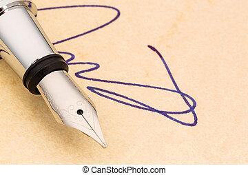 firma, y, fuente, pluma,