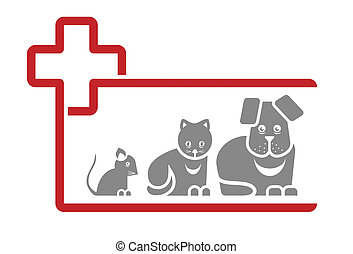 veterinarian - sign with cat and dog for a veterinarian