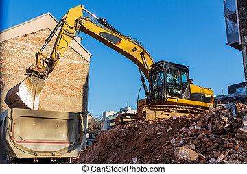construcción, sitio, Durante, el, Demolición,...