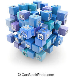 media icons cube - cubic blue structure with media icons...