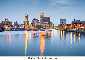 Providence, Rhode Island, USA city skyline on the Providence...