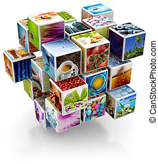 photos collage - cubic structure with colorful pictures...