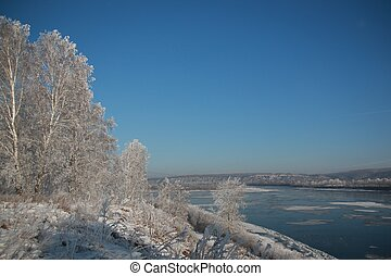 river with snow in winter
