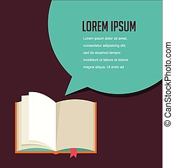 Open book with speech bubble - Open book background with...