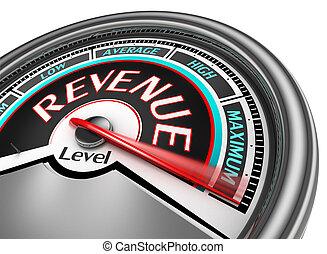 revenue level conceptual meter indicate maximum, isolated on...
