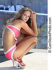 fashion model in bathing suit - beautiful young fashion...