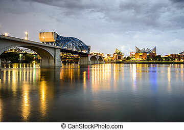Chattanooga, Tennessee, USA city skyline at dusk