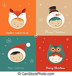 Set of cute Xmas Cards