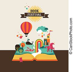 Open book with fairy tale elements and icons - Open Book...