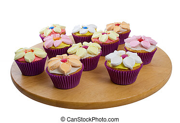 Cup Cakes Over White Background - Selection of delicious...