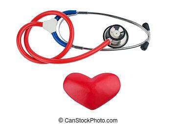 estetoscopio, y, Un, corazón,