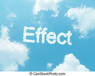 cloud words with design on blue sky background