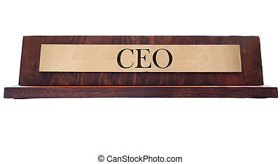 CEO name plate - Wooden nameplate with CEO text, isolated on...