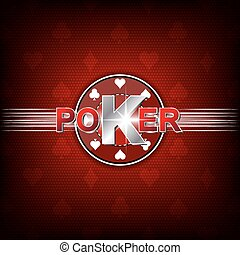 Poker vector background - Poker vector illustration on a red...