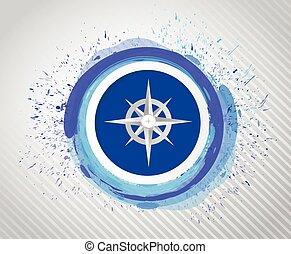 compass over ink drops design illustration design over a...