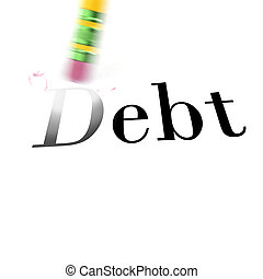 Erasing Debt with Pencil Eraser - Person using a pencil...