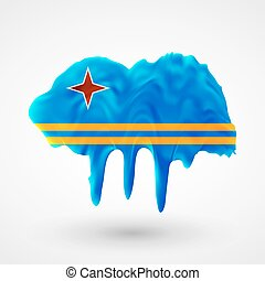 Flag of Aruba painted colors Blot with paint streaks with...