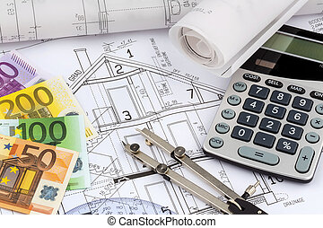 house plan with calculator - an architects blueprint with a...
