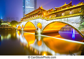 Chengdu, China at Anshun Bridge - Chengdu, Sichuan, China at...