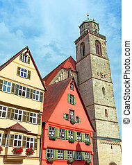 Dinkelsbuhl, Germany: View of the old tower and facades...