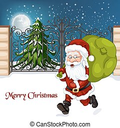 Happy Santa Claus with sack of gif
