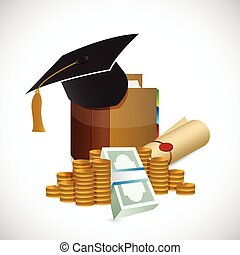 graduation money illustration design over a white background