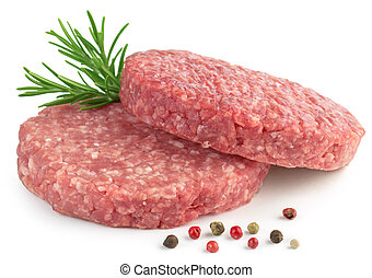 beef burger - two raw hamburger, rosemary and pepper on...