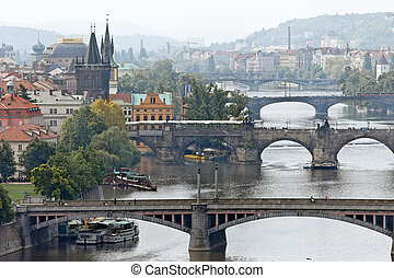 prague bridges over the vltava river