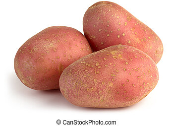 red potatoes - three red potatoes isolated on white...
