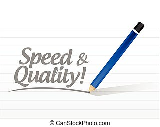 speed and quality message illustration design over a white...