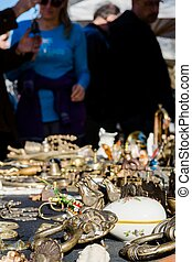 Objects being sold on flea market - Object being sold on a...