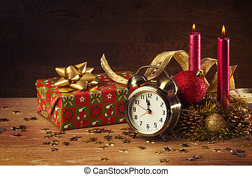 Christmas Still-life - Christmas decorations and a clock...
