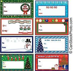 Christmas Gift Tags - A set of eight colorful Christmas gift...
