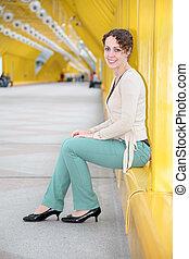 ponte, mulher, jovem,  pedestrain, sentando