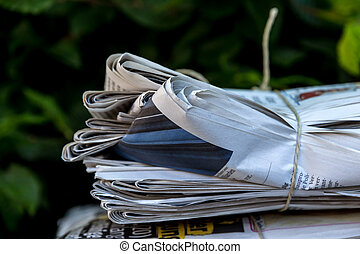 stack of waste paper. old newspapers
