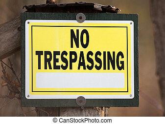 No Trespassing Sign - No trespassing sign for private...