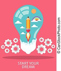 START YOUR DREAM - launch pencil rocket with sky space in...
