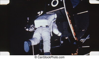 Apollo Astronaut and Lunar Lander - Tilt down on static shot...
