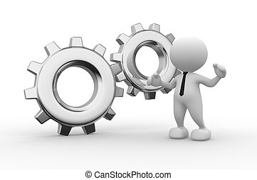 Wheel - 3d people - man, person with gear mechanism. Wheel