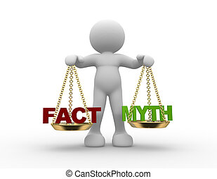 Facts and myth on scale - 3d people - man, person with facts...